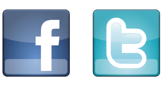 Ultimate facebook & twitter icons Vector Material
