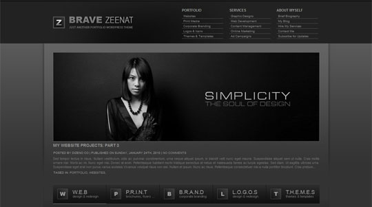 Brave Zeenat Portfolio WordPress Theme