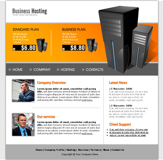 20 hosting website template free
