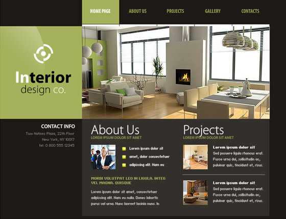 30 free flash web templates web3mantra for Interior decorating websites