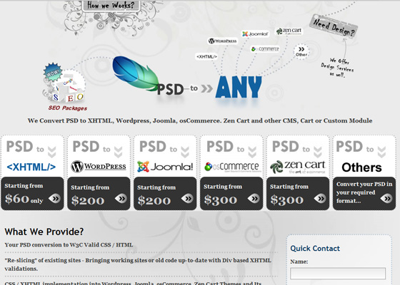 XHTML, PSD to XHTML Services