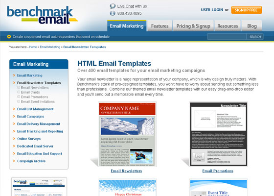 benchmark-email Email Newsletter Template Providers