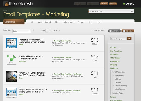 theme-forest Email Newsletter Template Providers