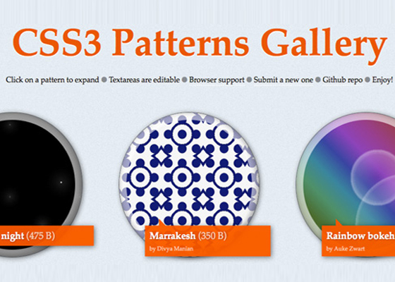 CSS3-Patterns-Gallery 40+ CSS Development Tools