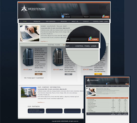Free-Hosting-Template 30+ Free PSD Templates