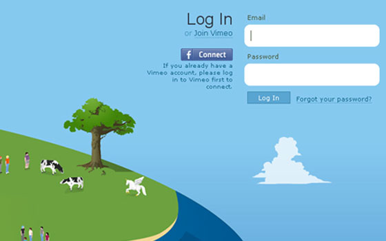 Vimeo 40+ Login Page Design Inspirations