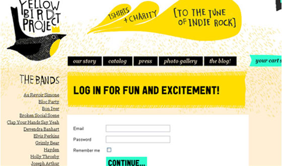 Yellow-Bird 40+ Login Page Design Inspirations