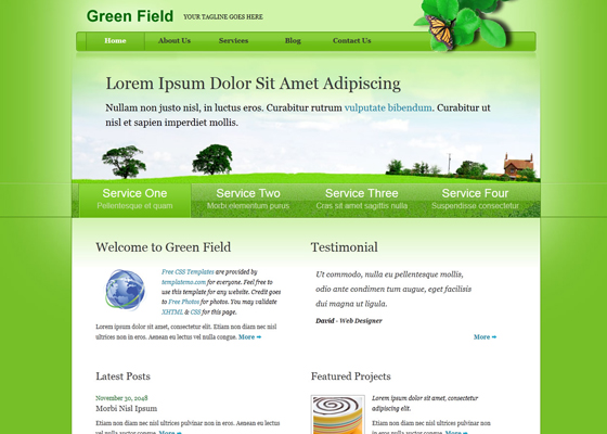20 free green css templates web3mantra for Html table css template