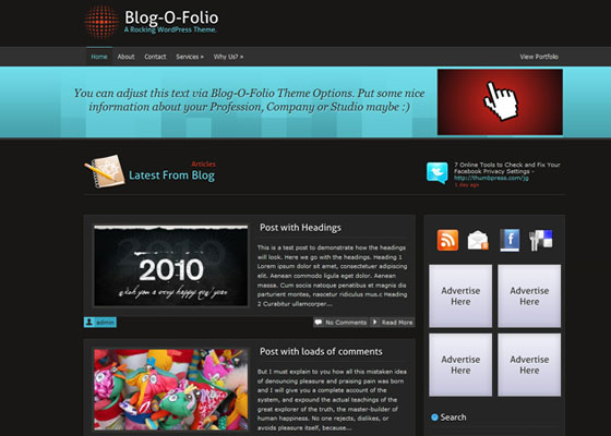 Blog-O-Folio 60 Free And Premium Quality WordPress Themes