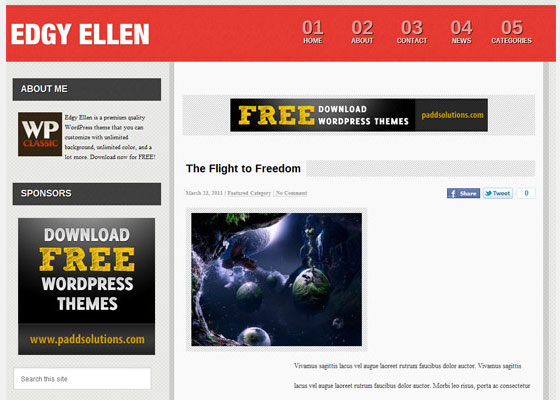 Edgy-Ellen 60 Free And Premium Quality WordPress Themes