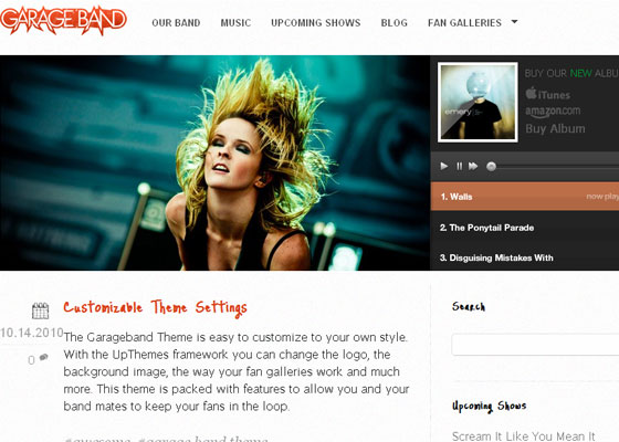 Garage-Band 60 Free And Premium Quality WordPress Themes
