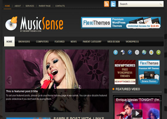 Music-Sense 60 Free And Premium Quality WordPress Themes