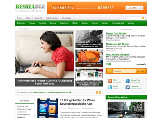 Resizable-responsive 60 Free And Premium Quality WordPress Themes
