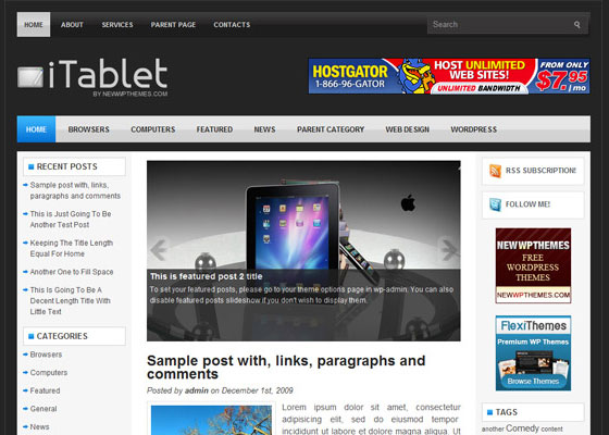 iTablet 60 Free And Premium Quality WordPress Themes