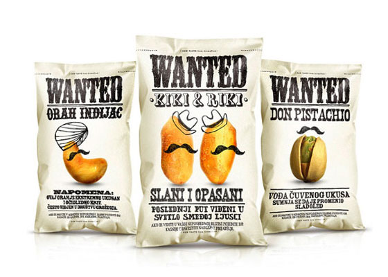 Wanted-Snacks Fully Illustrated Package Designs