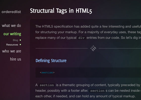 Structural Tags in HTML5