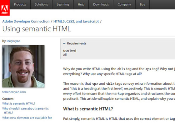 Using semantic HTML