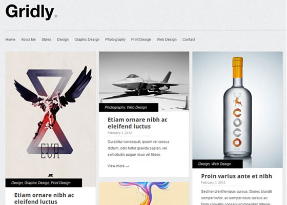 Gridly 25 Free Minimal Responsive WordPress Themes