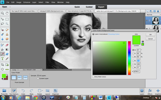 Now a color picker window
