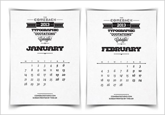 Beautiful-Calendar-for-2013-Typography-Quotes Unique Calendar Designs 2013