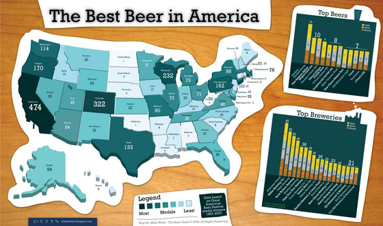 GABF-Medal-Map 50 Best Infographics Designs Inspirations