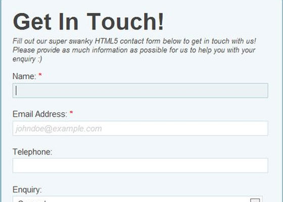 HTML5 Powered Contact Form