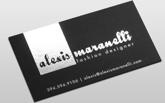 business card hot foil printing silver