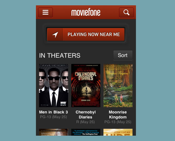 MovieFone 40+ Mobile web designs inspiration
