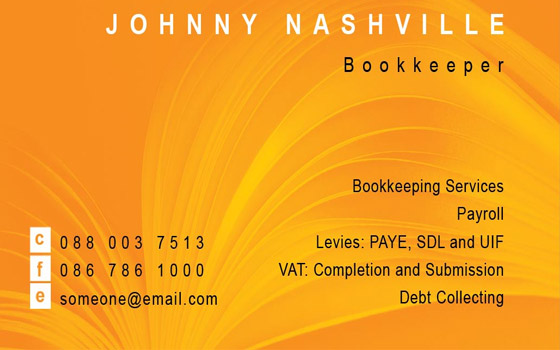 Org Bookkeeper Business Card
