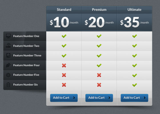 Glossy Pricing Table