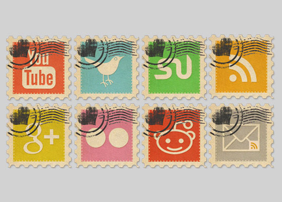 Vintage-Social-Media-Stamps Free Icon Sets to Bookmark