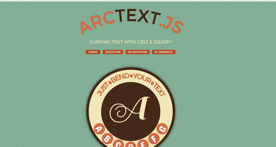 arctext 15+ Amazing jQuery Typography Plugins
