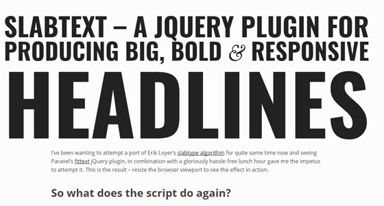 slabtext 15+ Amazing jQuery Typography Plugins