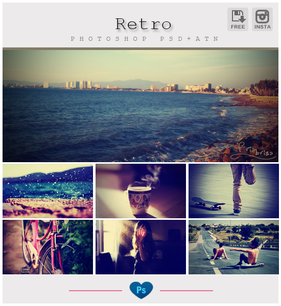 Retro Instagram Photoshop PSD+ATN