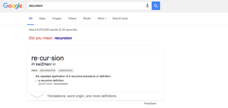 Recursion Google Easter Egg