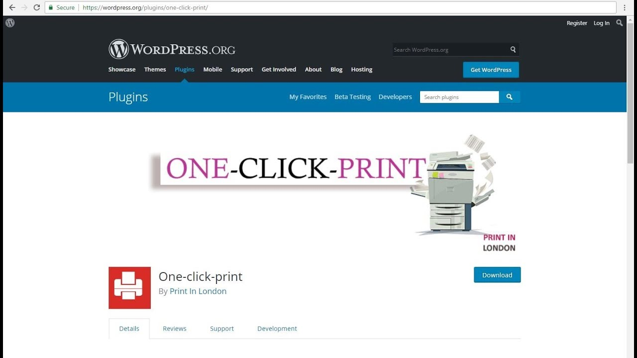 Print in London One Click Print wordpress plugin