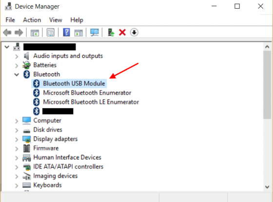 bluetooth in device manager view