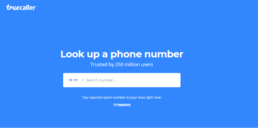 search for unknown contacts on truecaller