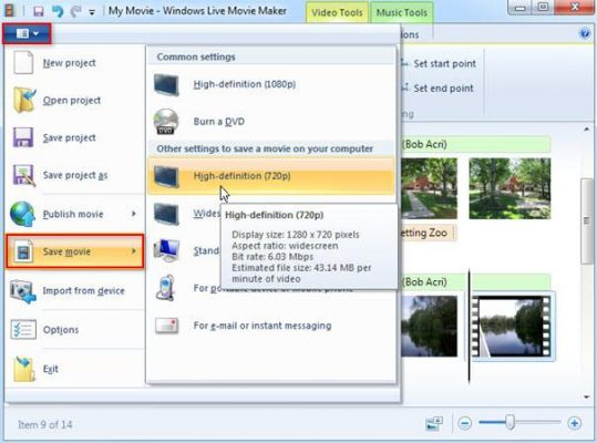 Export video or save video from windows movie maker