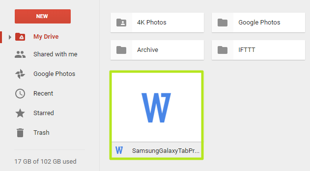 access ms word file Using Google drive