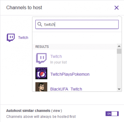 host channel on twitch