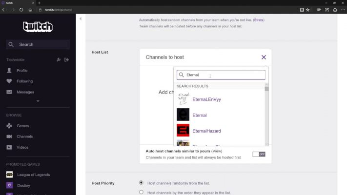 host a channel on twitch