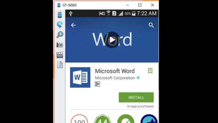 access ms word file using ms word app for android