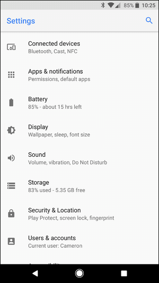 Go to Android setting